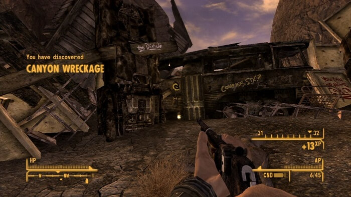 Fallout New Vegas screenshot of the entrance to the Great Divide