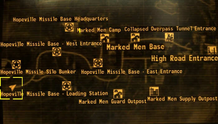 The map markets in the Lonesome Road DLC.