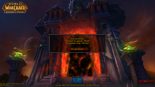 The queue for Warlords of Draenor play