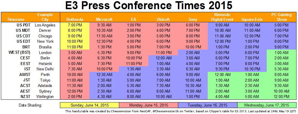E3 press conference times
