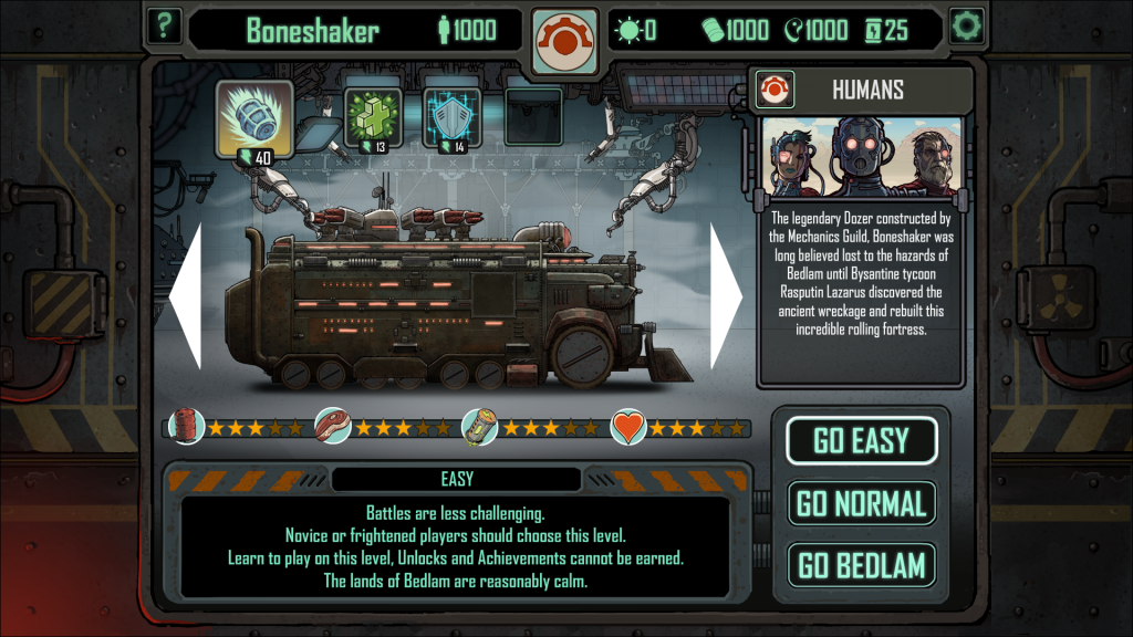 Skyshine's Bedlam Dozer selection screen