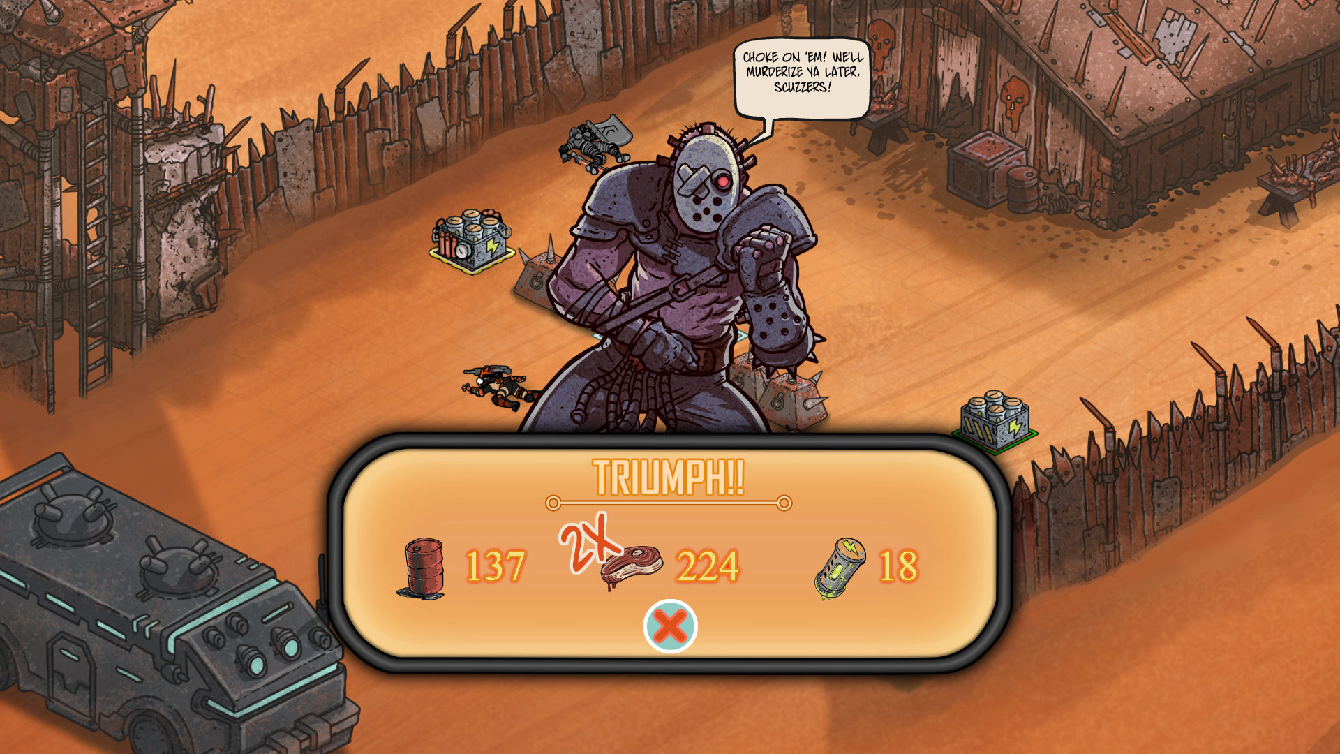 A message appears after a battle is finished in Skyshine's Bedlam