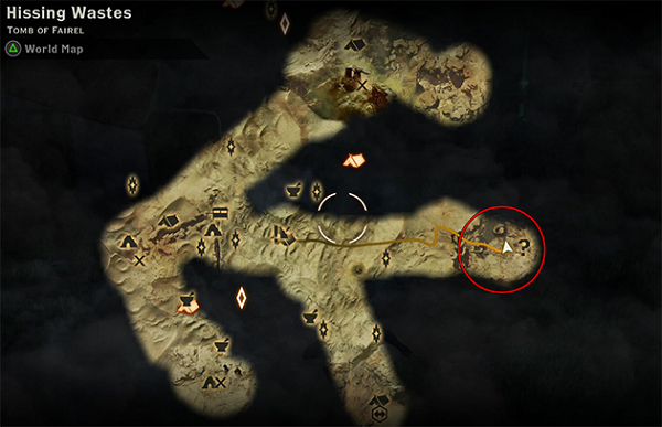 Dragon Age Inquisition Strategy Guide - The Sandy Howler Dragon Location.