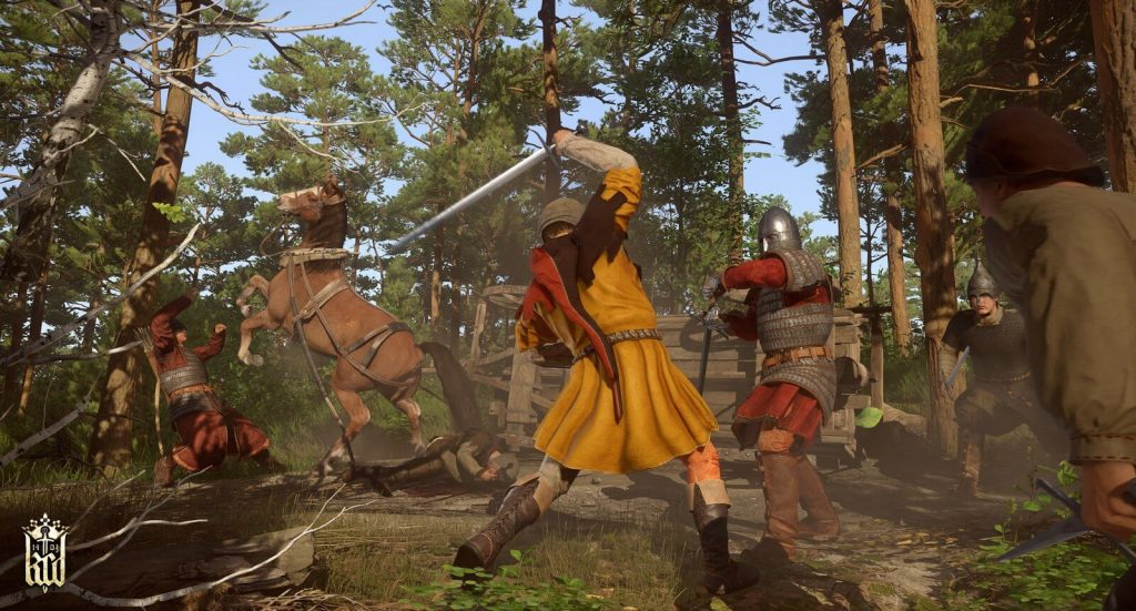 kingdom come deliverance game screenshot men in medieval times in combat in forest
