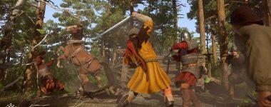 kingdom come deliverance game screenshot men in medieval times in combat in forest