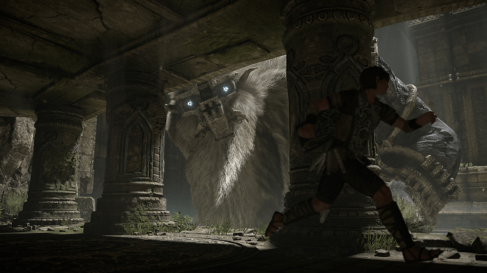 shadow of the colossus game screenshot with main character and a colossus