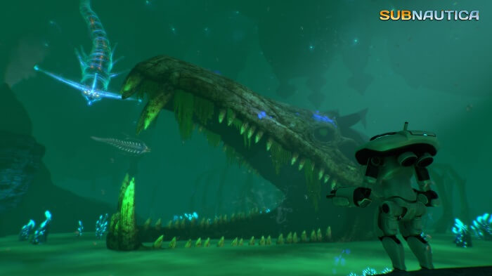 subnautica game screenshot with main character in an underwater cave