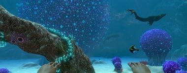 subnautica game screenshot from the main character view in diving suit underwater
